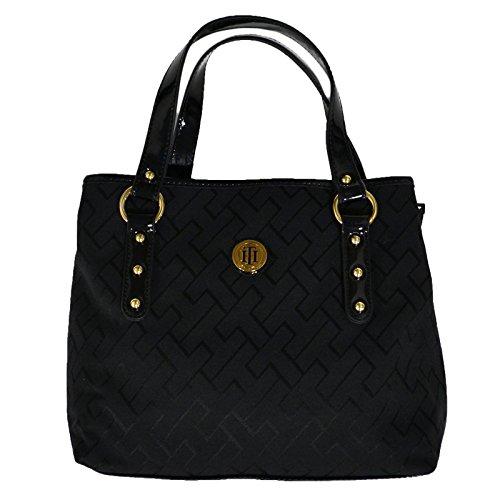 Tommy Hilfiger Womens Black Shopper Tote Handbag