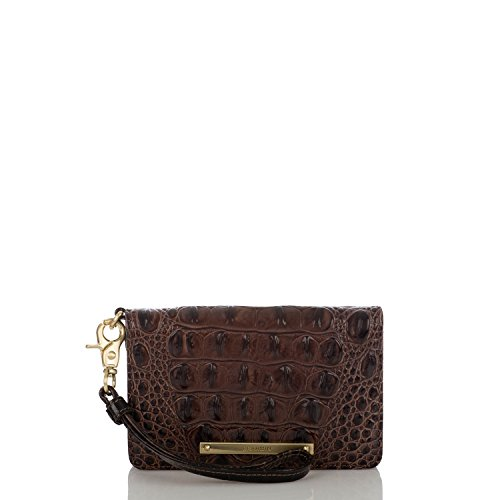 Brahmin Debi Croc Embossed Leather Wristlet in Cocoa Melbourne
