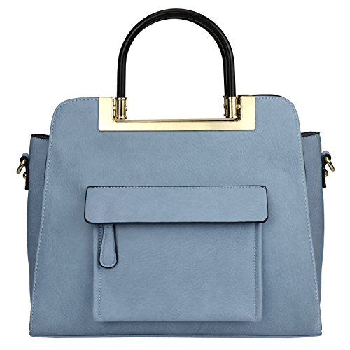 MG Collection ALVA Blue Structured Satchel Handbag – Crossbody Shoulder Tote