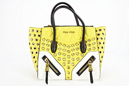 "Miu Miu ""Biker"" Yellow and White Leather Tote Bag (Mod: RN1032)"