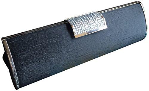 Joy Collection Satin Crystals Clutch Evening Bag Handbag Black Silver