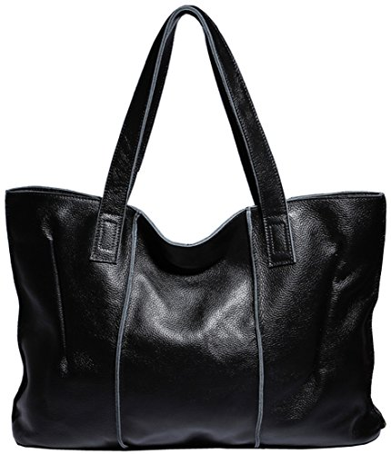 Heshe® New Luxury Soft Cowhide Leather Fashion Designer Tote Top Handle Shoulder Bag Zippered Messenger Bag Satchel Purse Women's Handbag