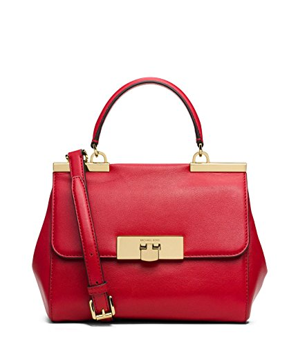 Michael Kors Small Marlow Leather Crossbody Satchel Chili Red
