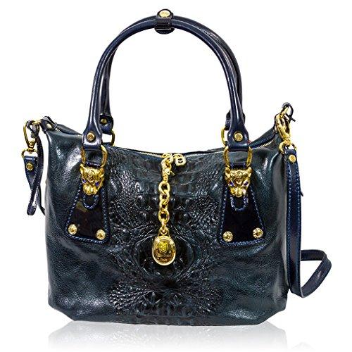 Marino Orlandi Designer Blue Alligator Embossed Leather Purse Slouchy Bag