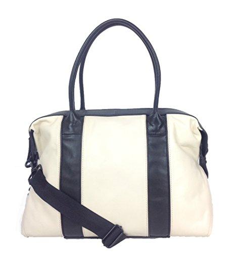L.A.M.B Grey Color Block Large Leather Satchel, Bone/Black