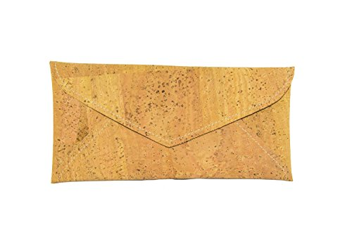 Crown Envelope Clutch Purse in Cork. 100% Vegan, Handmade. Unique Vintage Style, Auburn Cotton Lining.