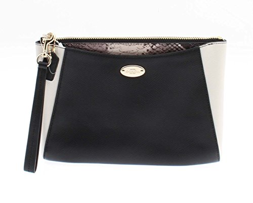 Coach Exotic Trim Morgan Leather Clutch 24 Black and White