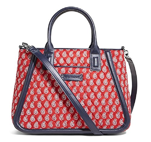 Gorgeous Vera Bradley Trimmed Trapeze Satchel Handbag in Petite Red Bandana Paisley