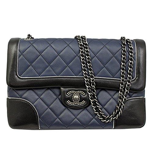 2015-2016 Chanel Women's Flap Chain Shoulder Bag A90817 Black/blue Leather
