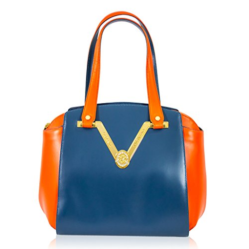 Valentino Orlandi Italian Designer Blue/Red Leather Gilded Purse Satchel Bag