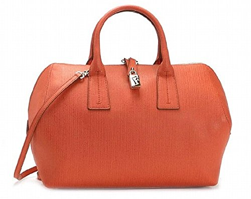 Furla Papermoon M Bauletto Leather Satchel Papaya/Orange