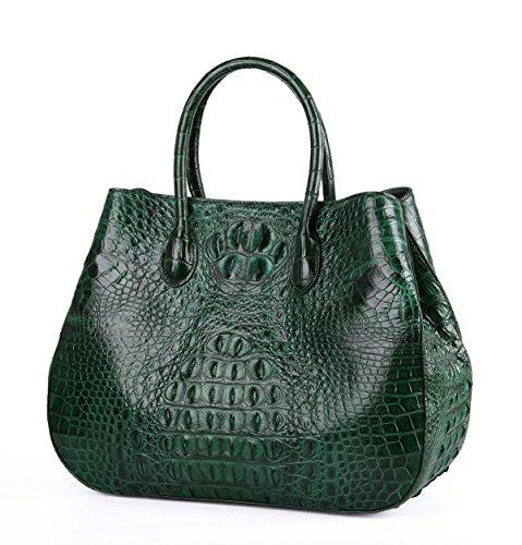 SINNOL Women's Genuine Crocodile Leather Top Handle Bag Green S01114