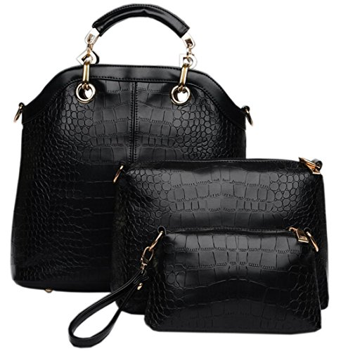 Coofit Ladies Women Elegant Crocodile Textured Pu Leather Evening Handbag Black