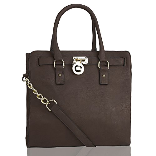 Designer Handbag – Designer Handbag for Women – Multi Pocket Designer Handbag – Designer Handbag with Pad-lock – Perfect Women Handbag – Beautiful Designer Handbag – Plora Fashion Designer Handbag Women Purse – By MKF Collection (Large, Coffee)