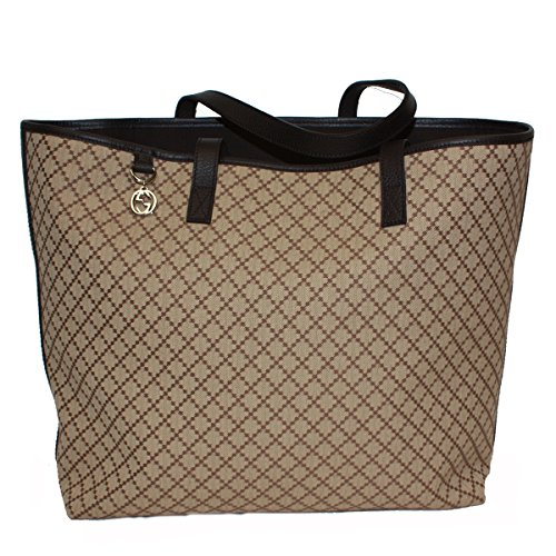 Gucci Diamante Large Canvas and Leather Tote Bag 211525, Brown