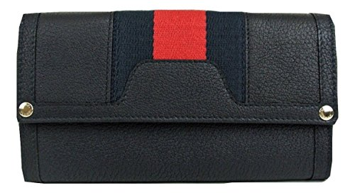 Gucci Leather Continental Clutch Wallet Web Detail Navy 272344 8497