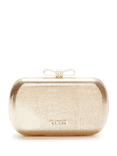 GUESS Women's Gold Lizard-Embossed Box Clutch