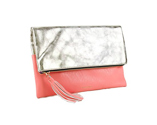 "Pixie Mood ""Lynne"" Pink Coral Vegan Leather Foldover Crossbody Clutch"