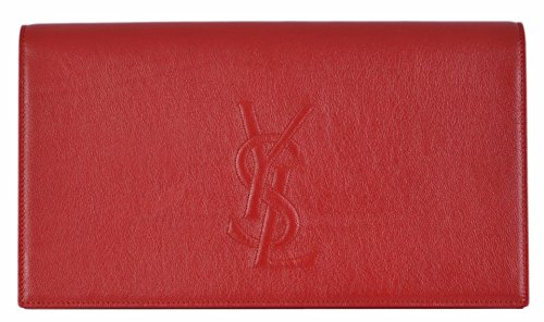 YSL Yves Saint Laurent Women's Red Leather Large Belle de Jour Clutch