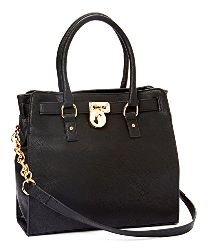 MKF Collection Plora Pad-lock Designer Handbag (Large, Black)