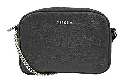 Furla Pebbled Leather MIKY Cross Body Shoulder Bag (Onyx 001)