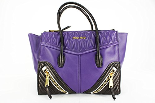 "Miu Miu ""Biker"" Purple and Black Leather Tote Bag (Mod: RN1031)"