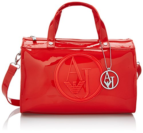 Armani Jeans RJ Patent Bowler Top Handle Bag, Red, One Size