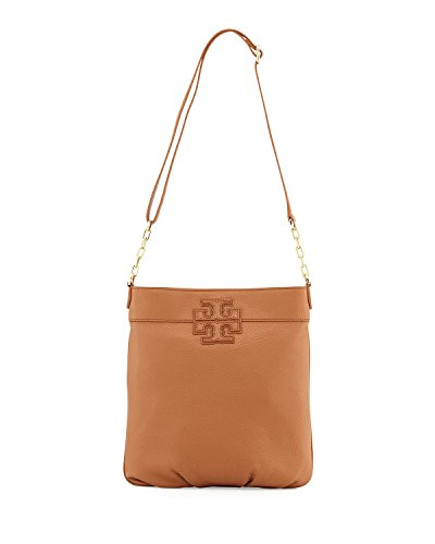 Tory Burch Leather Stacked-T Logo Book Bag, Bark