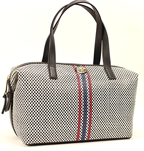 Tory Burch Jane Satchel in Black Multicolor Woven Leather