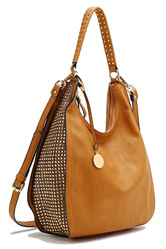 Tosca Side Studded Hobo Handbag (Tan)