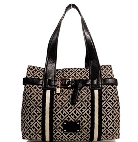 Tommy Hilfiger Shopper Tote Bag Handbag Purse, Black / Beige