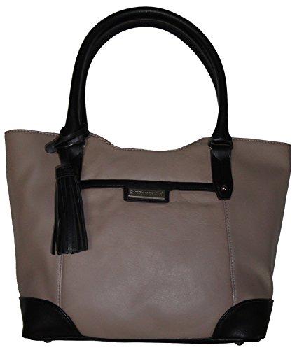 Tignanello Women's Genuine Leather Classic Prep Shopper Handbag, Mushroom/Black