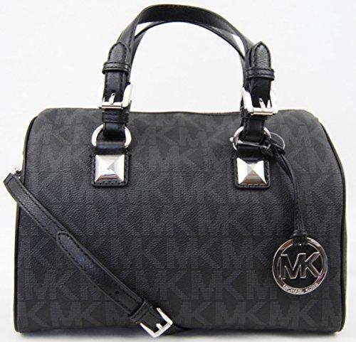 Michael Kors Grayson Medium Satchel Black PVC Handbag Shoulder Bag