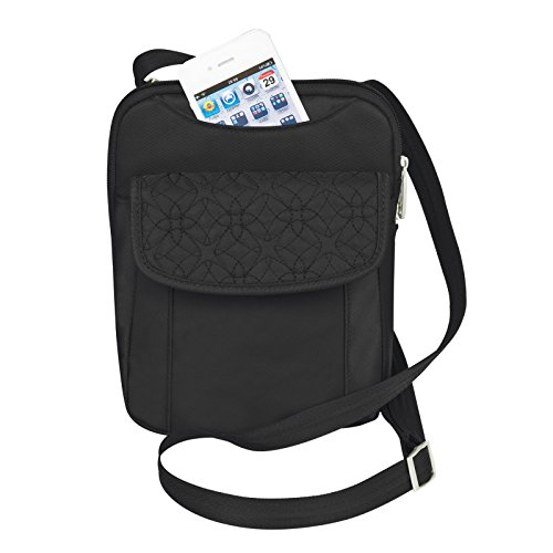 Travelon Anti-theft Signature Slim Pouch Shoulder Cross-body Bag Black