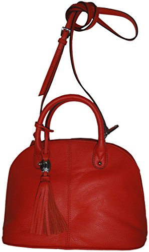 Tignanello Leather Purse Handbag Mini Dome Shopper Papaya