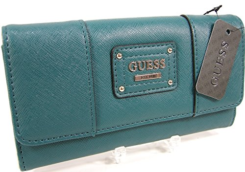 New Guess G Logo Checkbook Wallet Purse Hand Bag Lockport Emerald Teal Clutch