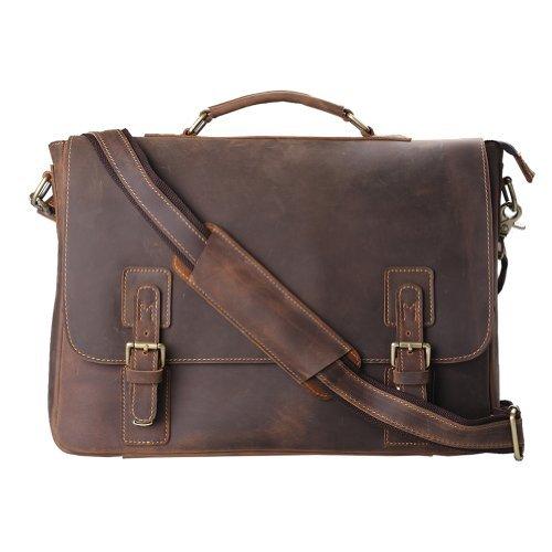 Kattee Leather Satchel Briefcase, 16″ Laptop Messenger Shoulder Bag Tote for Men
