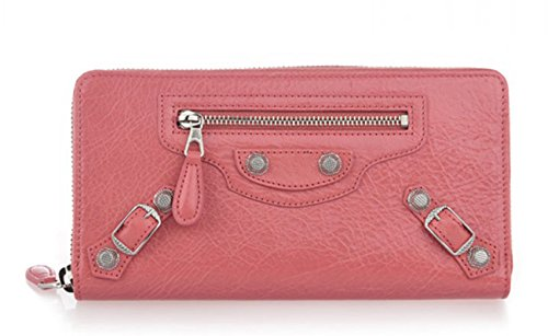 Balenciaga 2015 New Pink Long Type Zipper Women Clutch Handbag Lambskin Leather