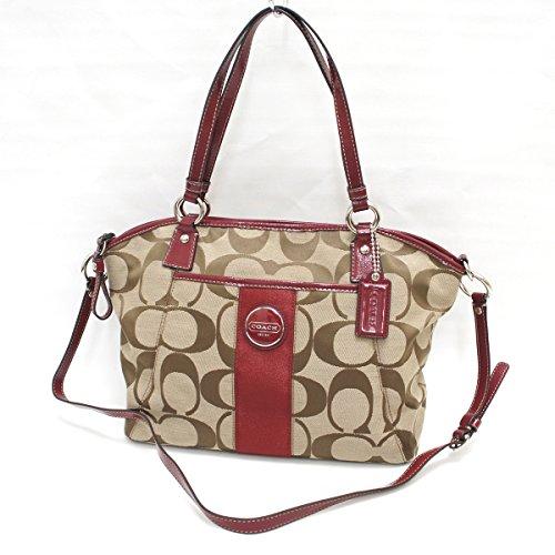 Coach Signature Stripe Pocket Convertible Tote Handbag F17948 SKHRD