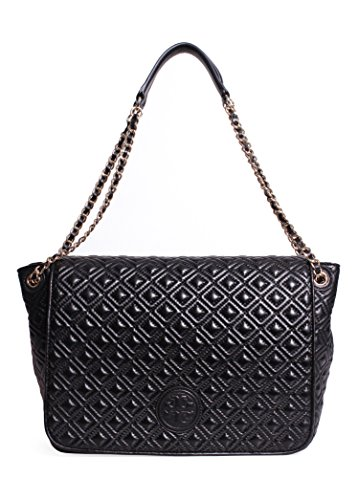 Tory Burch Marion Quilted Flap Shoulder Bag in Black