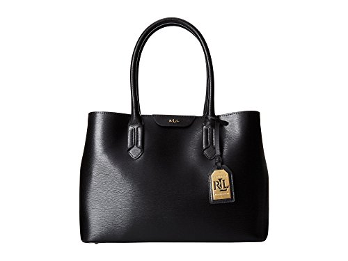 Ralph Lauren Black Saffiano Leather Handbag Tate City Shopper Satchel