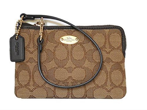 Coach Outline Sig Corner Zip Brown Wristlet 53536
