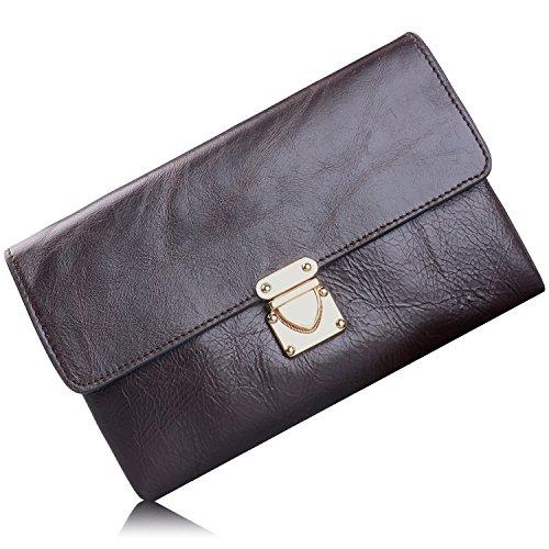 Jack&Chris®Men/Women's Genuine Leather Flap Clutch Bag Handbag,WBJN015