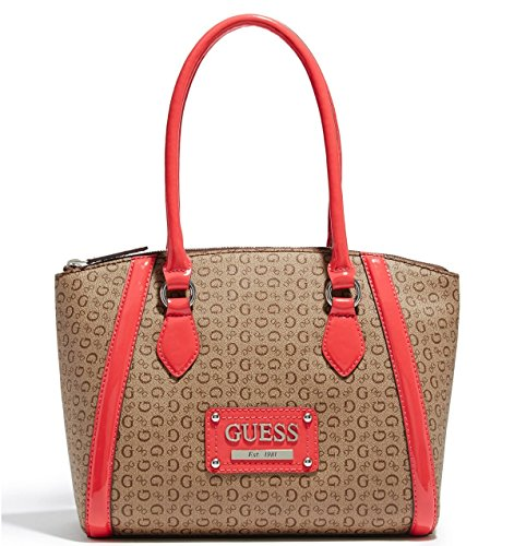 Guess Logo Proposal Satchel Tote Bag Handbag Purse (Coral / Brown)