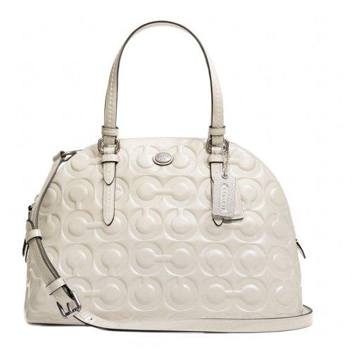 Coach Peyton Op Art Embossed Patent Cora Domed Satchel Bag 25705 Ivory