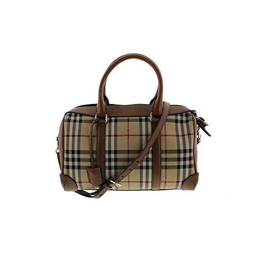 Burberry Womens Alchester Armour Horseferry Check Leather Trim Bowler Handbag
