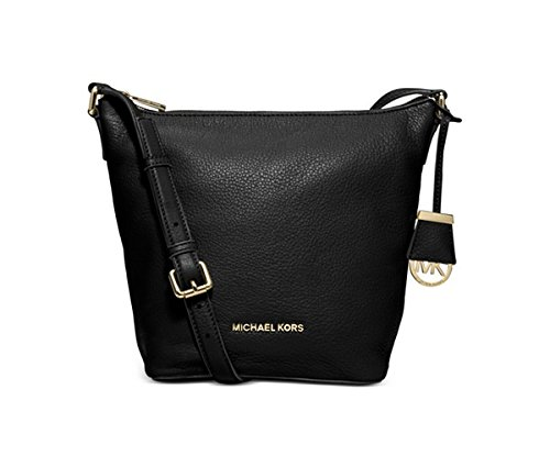 Michael Kors Bedford Medium Messenger Black Leather Tote Purse Bag