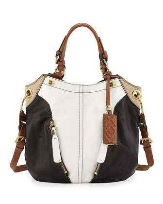 Oryany Victoria Multi White Black Pebble Leather Victoria Colorblock Large Hobo Shoulder Bag
