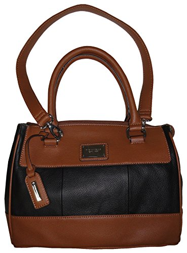 Tignanello Women's *Social Status* Pebble Leather Satchel, Black/Cognac, #108 …