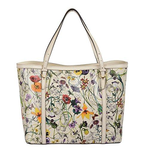 Gucci Women's Leather Floral Print Tote Handbag Shoulder Bag
